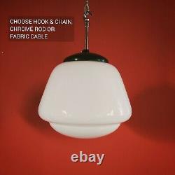 12 Available! VINTAGE SCHOOLHOUSE OPALINE OPAL MILK GLASS PENDANT CEILING LIGHT