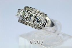 18K White Gold 5-stone 1.22 ct Diamond Ring Band Mid-century Vintage