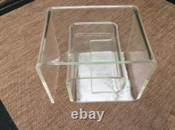1940's Vintage Mid Century Modern Thick Lucite Greek Key Coffee /Side Table
