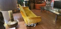 1950's Golden Velour Long & Low Sculpted Atomic Mid Century Gondola Sofa VINTAGE
