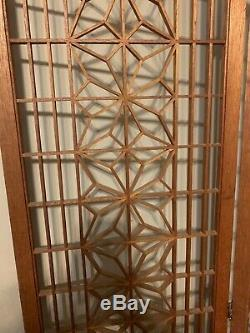1960s vintage mid century modern teak folding six panel room divider/screen
