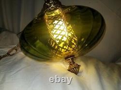 (1) Vintage Mid Century UFO Green Glass Swag Hanging Light Fixture