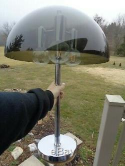 24 Vintage Mid Century Modern Atomic 3-Light Chrome Acrylic Mushroom Table Lamp