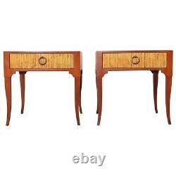 2 Baker Vtg Mid Century Modern Hollywood Regency End Table Nightstand Gibbings