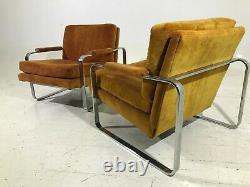 2 Chrome Lounge Chairs 70's Vintage Mid Century Modern Milo Baughman/Cy Mann Era