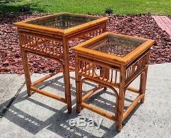 2 Mid-Century Tortoise Bamboo Nesting Tables Stacking Rattan Tiki Boho Vintage