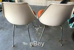 2 Vintage Burke Tulip Chair Mid Century Space Age Orange Seat Chairs