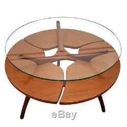 2 Vintage Mid Century sculptural Wood Floating Glass Coffee End Table's