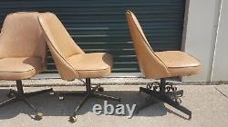 4 Vintage Mid Century Rolling Swivel Vinyl Kitchen Dining Gaming Poker Chairs
