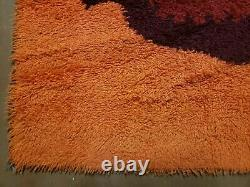 4'X 6' Vintage 1960 Danish Rya Shag DeLuxe Ege Rug Mid-Century Modern Orange Wow