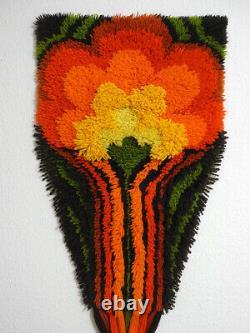 70s JUNGHANS wool pile wall hanging rug orange yellow vintage Mid-Century design