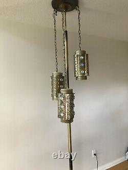 Amazing Vtg Mid Century Tension Pole Floor Lamp Pendant Swag MCM 3 Way