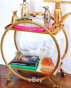 Antique Gold Mirrored Glam Mid Century Regency Arteriors Rupert Style Bar Cart