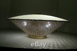 Antique Vtg Flush Ceiling Light Fixture Gold Saucer Atomic UFO Mid Century Moe