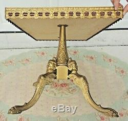 Antique/Vtg French Maison Jansen Brass Figural Woman Claw Foot Wood Coffee Table
