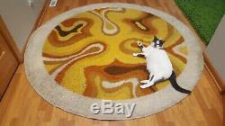 Awesome RARE Vintage Mid Century retro 60s 70s HUGE round swirl rya shag rug