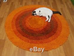 Awesome RARE Vintage Mid Century retro 70s round target brn org rya shag rug