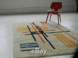 Bauhaus eames era Mid Century Modern Danish Vintage 70's RYA SHAG RUG loft art