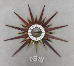 Big Vintage Elgin MCM MID Century Starburst Atomic Clock Original Motor Clean