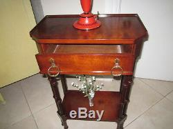 Bombay company vintage mid century two tiered end or side table mahogany wood