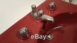 CRANE MID-CENTURY BATHROOM SINK ELAYNE PERSIAN RED VINTAGE 1949 with ORIG FIXTURES