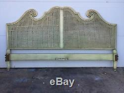 Cane And Wood Vintage King Size Headboard Hollywood Regency Mid Century Modern