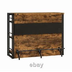 Coaster Industrial Mid Century Bar Unit With Stemware Rack Antique Nutmeg 130071