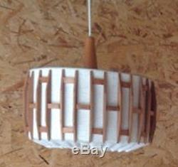 Danish Mid Century Modern 1960s Mod Teak Pendant Light Vintage Original