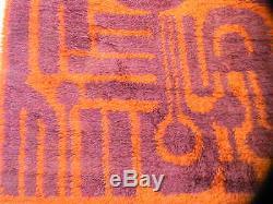 EAMES era Mid-Century Modern Rya Rug danish OP ART WOOL shag vintage SCANDINAVIA