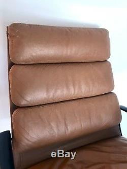 Eames Herman Miller Vtg Mid Century Modern Leather High Soft Pad Lounge Chair