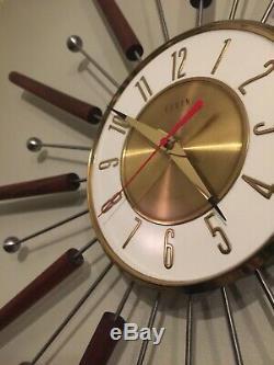 Elgin Mid Century Sunburst Starburst Atomic Clock Midcentury MCM Vintage Modern