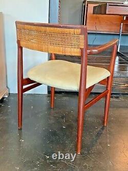 Erik Worts Vtg Mid Century Danish Modern Teak Wood Cane Lounge Desk Dining Chair