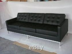FLORENCE KNOLL Style SOFA Black Premium Leather Mid-Century Vintage eames modern