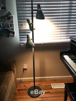 Floor Lamp Vintage Midcentury Modern Aqua 3 Lights Adjustable Pole Cones WORKS