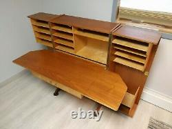 Folding Desk in a Box 1960's Vintage Mid Century Teak Wood