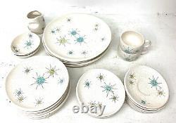 Franciscan Starburst Atomic Set of 32 Dinnerware Pieces, Vintage Mid-Century