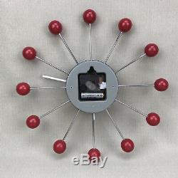 GEORGE NELSON Vintage Red Ball Clock Mid Century Modern Atomic Starburst Retro