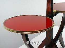 German Vintage Mid-Century Tripod Walnut & Glass Plant Stand Side Table, 1950s