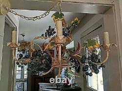 Gorgeous Vintage 6 Light Italian Tole Grape Leaf Mid Century Chandelier