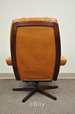 Gote Mobler Nassjo Mid Century Modern Caramel Leather Lounge Chair & Ottoman Vtg