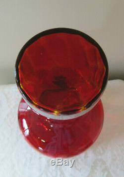 HUGE Vtg Mid Century Joel Myers for Blenko Huge Optic Red Glass Decanter Bottle