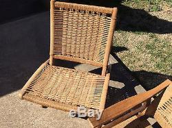 Hans Wegner Style Rope Folding Chair Couch Danish Style Mid Century Modern VTG