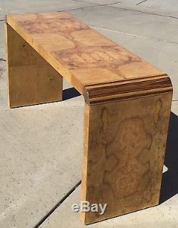 Henredon Burled Olive Wood Console Table Mid Century Modern Vintage Art Deco