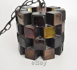 Hoglund Vtg Mid Century Modern Metal Glass Chandelier Light Fixture Pendant Lamp