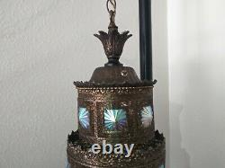 Hollywood Regency Hanging Lamp with Iridescent Glass vintage Mid Century