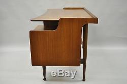 Hooker Mainline Walnut Floating Writing Desk Mid Century Modern Curved Vtg Table