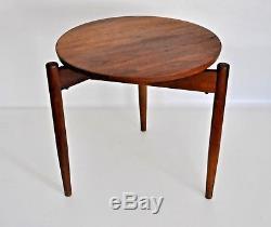 Jens Risom Vtg Mid Century Danish Modern Walnut Wood Tripod Side End Table Stool