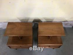 Kent Coffey Mid Century Modern Walnut End Tables Nightstands Vintage