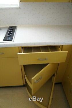 Kitchen Cabinets- Steel, Vintage, Mid Century Modern, St. Charles, Yellow