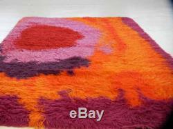 Large Panton Era Mid-Century Modern Vintage Scandinavian 70s Op Art RYA Shag Rug